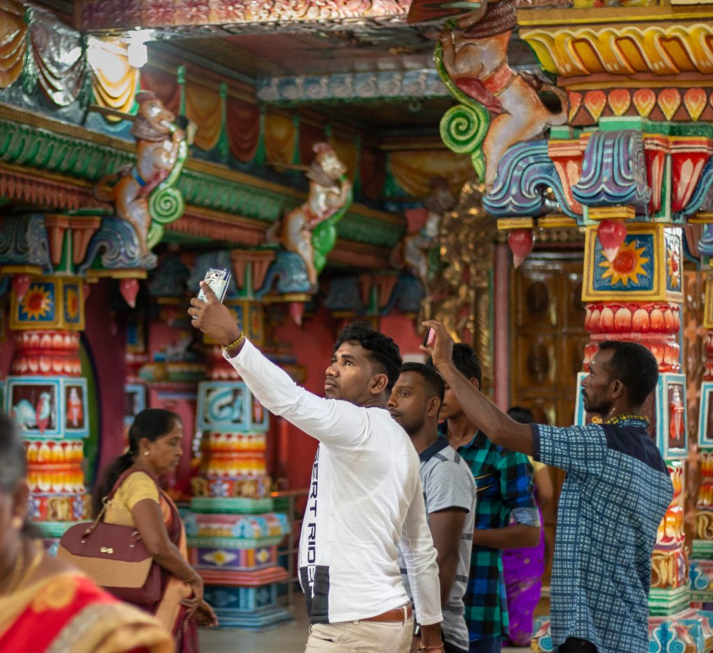 Selfies taken in Pathirakali Amman Temple in Trincomalee, Sri Lanka