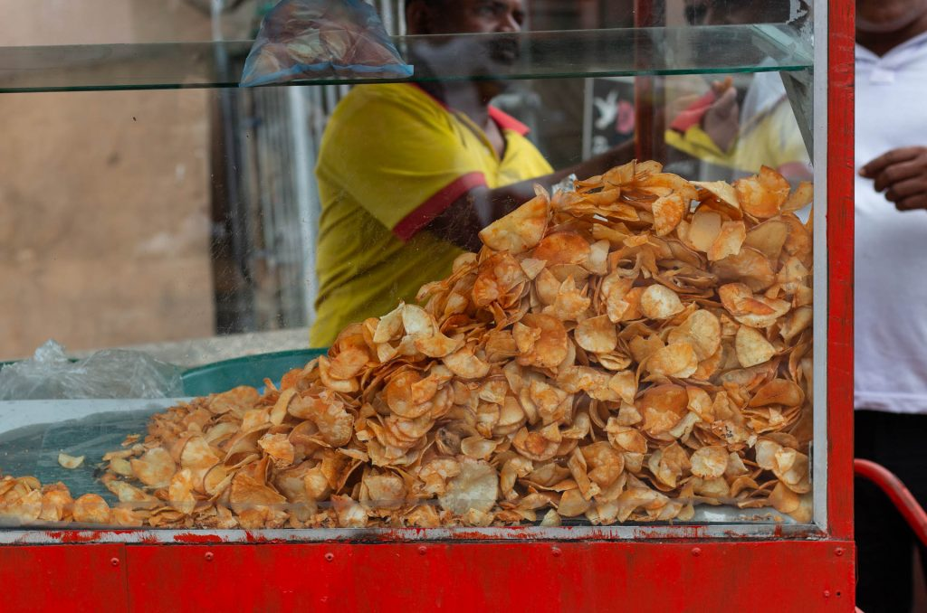 Chips stand on the streets of Trincomalee, Sri Lanka