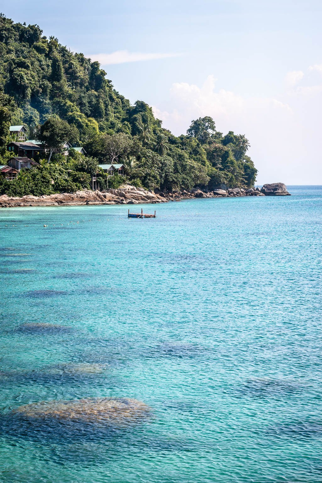 The blue waters around the Perhentian Islands, Malaysia.
